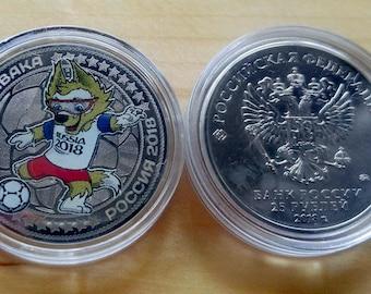 "Coin 25 rubles- ""Talisman Fifa 2018-Zabivaka"",Russia."