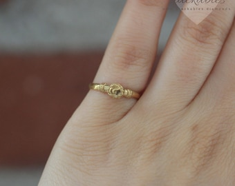 Yellow Gold Rose Ring, Sterling Silver Pinky Ring, Rose Flower Ring, Sterling Silver Rings, Flower Leaves Ring, Midi Ring, Stackable Ring