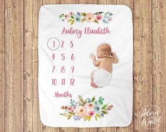 Milestone Blanket, Baby Month Blanket, Milestone Blanket Girl, Baby Girl Blanket, Baby Milestone Blanket, Monthly Baby Blanket, Name Blanket