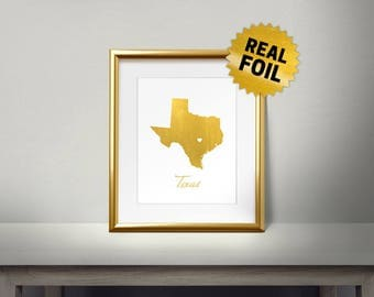 Texas Wall Decor,Real Gold Foil Print, State Foil Art, Map of Texas, I love Texas, Modern Artwork, gold foil printing, texas usa art