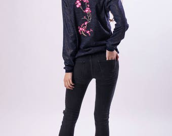 Embroidered bomber dark blue with embroidery of cherry branch made of cotton