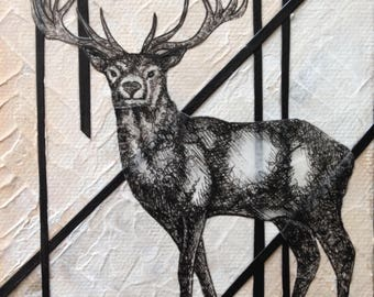Custom Soul Painting/ spirit, stag, deer, animal, animal guide, power animal, painting, original, art, drawing, sacred, geometry