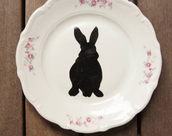 Vintage plate with Flower and rabbit