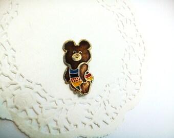 Misha Olympic Bear Symbol of Olympic Games Moscow 1980 Sport Vintage metal collectible badge Soviet Pin USSR Propaganda Retro memorabilia