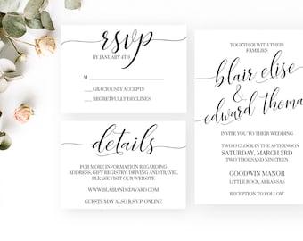 Blair Wedding Invitation   RSVP Card   Details Card   Simple Elegant Digital PDF Invites
