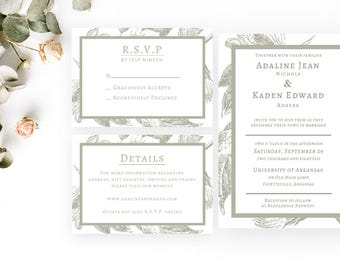 Adaline Wedding Invitation   Wedding Stationery   Simple Elegant   Customizable   Digital PDF