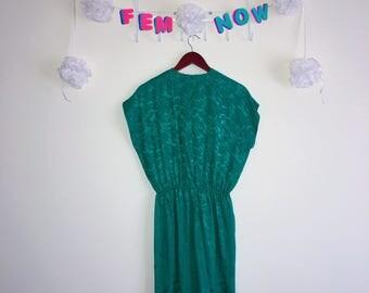 Vintage 1980's Dress, Liz Claiborne – Green Satin Short Sleeve