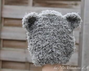 Grey bear baby Hat