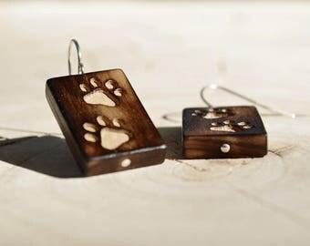 Boucles d'oreilles Rectangle Bois Récupéré et Argent - Pattes