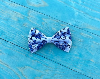 Blue Floral- 3 inch, 4 inch, Pigtails