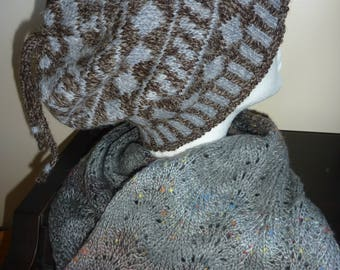 Fair Isle hat, hand knitted.  Shetland soft brown and grey/blue