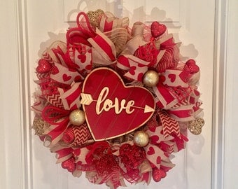 Valentines Wreath - Rustic Valentine Wreath - Valentine's Day Wreath - Handmade Wreath