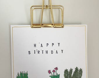 Hand Made Plant Happy Birthday Card