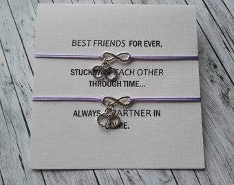 BFF and Partner in Crime, Set of 2 bracelets, Handcuff Charm, Handcuff Bracelet, Crime Quote, Always Best Friend, Satin Cord Bracelet, B19