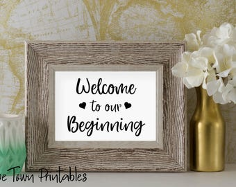Welcome to our Beginning 8x10 5x7 Wedding Printables Signs Printable Sign Reception Signs Wedding Signage