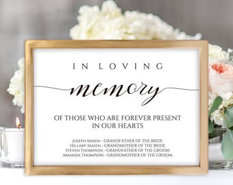 Loving Memory Sign, Memorial Sign, Wedding Memory Sign, In Loving Memory, Memory Sign, Loved Ones Sign, Memorial Printable, Wedding Memorial
