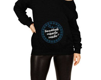 Hanukkah Pregnancy Sweater Maternity Gifts For Chanukah Expecting Announcement Star Of David Off The Shoulder Slouchy Sweatshirt TEP-515