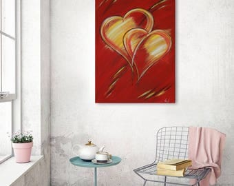 "Large acrylic painting on canvas 70x100x1, 8 cm (40 ""x28""), abstract ""Sweetheart"" by VictoriasFineArt"