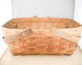 Vintage Wood Picnic Basket