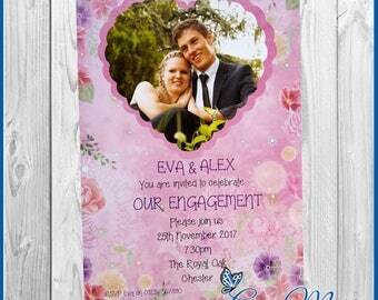10  Engagement Party Invitation Cards Personalised Invites Pink Heart Design including Envelopes