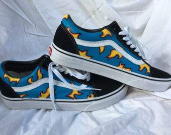 Hand-Painted Golf Wang Flame Shoes / Custom Painted Canvas Shoes / Tyler the Creator Inspired Shoes