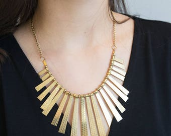 Statement Gold Necklace, Chunky Gold Necklace, Elegant Gold Necklace, Gold Statement Necklace, Collar Necklace, Egyptian Style Necklace