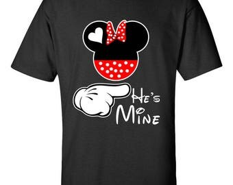 He Is Mine Minnie Mouse Disney Couple Printed Shirts Right Side Couple Goals Men Size Adult Cotton T-Shirts for Men and Women