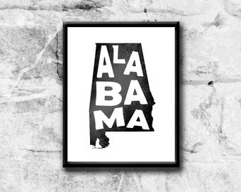 Printable Art, Alabama State Art Print, Instant download, Printable Wall art, United States of America, Alabama poster, home decor art print