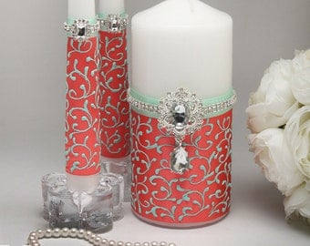 Unity candle sets Coral wedding Wedding unity candles Mint and coral wedding Custom unity candle set Mint green and coral wedding