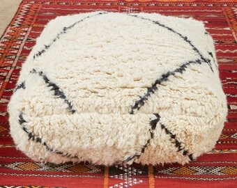 Moroccan Rug Pouf, Beni ourain vintage handmade wool pouf, bohemian square ottoman for living room, minimalist black and white design