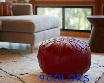 Leather Pouf, Moroccan Ottoman, Pouffe Ottoman Handmade in Morocco, Poufs in 9 colors, Moroccan Decor Leather Pouffes for Living Room