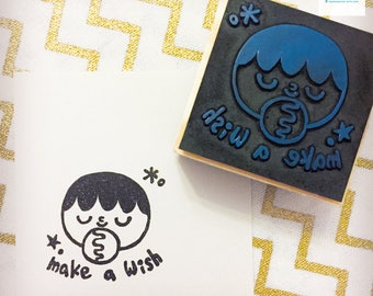 Hand Carved Make a Wish Rubber Stamp