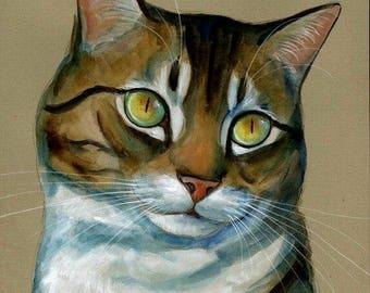 Cat Original Watercolor Painting