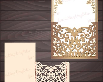 Wedding Invitation 5x7 Pocket Envelope template for cutting, laser cut. Digital Instant Download, Cricut Cameo (svg, dxf, eps10, studio3)