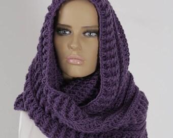 Ultra violet Crochet Infinity Scarf, Handmade Scarf, Neck warmer, Crochet Scarf, Winter Scarf, Ultra Violet Scarf, Crochet Soft Chunky Cowl