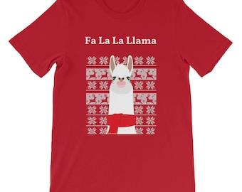 Cute Fa La La Llama Christmas Festive Tshirt Great present Gift for friends family scarf animal lover farm animal