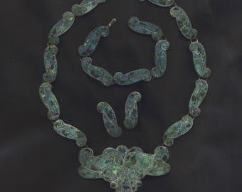 Vintage Taxco TM 950 Silver & Turquoise Necklace Bracelet Earrings Set 1940s Mexico