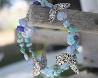 Butterfly Blue Memory Wire Bracelet