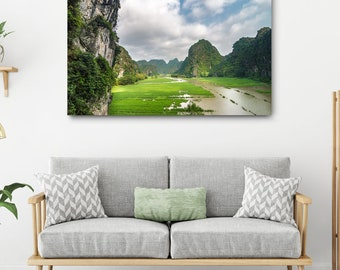 Vietnam Landscape Canvas Print // Large Canvas Wrap, Nature Photography, Asia Decor Wall Art, Asian Mountains Photo, Ninh Binh Office Decor