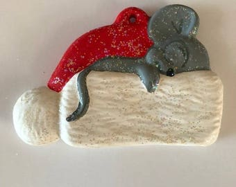 Ceramic Mouse Christmas Ornaments