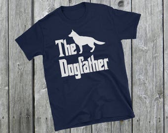 The Dogfather t-shirt, German Shepherd silhouette, funny dog gift, The Godfather parody, dog lover, dog gift, Short-Sleeve Unisex T-Shirt