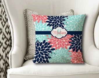 Monogram Flower Throw PILLOW, Floral Navy Aqua Coral, Flower Pillow Cover or With Insert, Flower Matching Bedding, Choose Your Colors