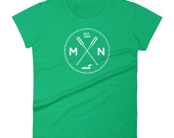 Adventure Minnesota Seal T Shirt - MN, Est 1858, Loon, Oars Women's Short Sleeve T-Shirt