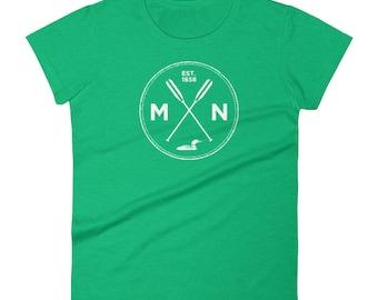 Adventure Minnesota Seal T Shirt - MN, Est 1858, Loon, Oars Women's Short Sleeve T-Shirt