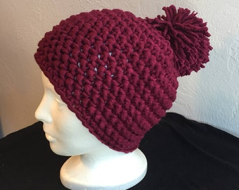 Chunky Crocheted Hat, Maroon with Pom-Pom