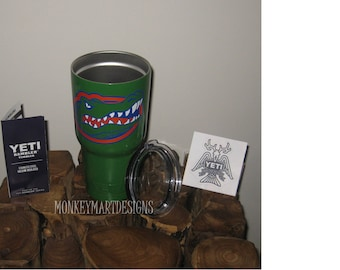 FLORIDA GATORS 30oz Yeti Rambler Choose size and color,Personalized Yeti tumbler cup Green