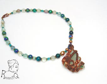 Wire woven sea glass necklace with beaded chain