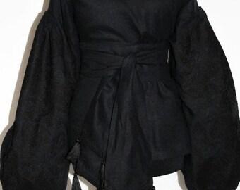 Vyshyvanka Black Backless Embroidered Blouse Ukrainian Embroidery Bohemian Clothing Vishivanka Custom Boho Clothes Ethnic Ukraine Blouses