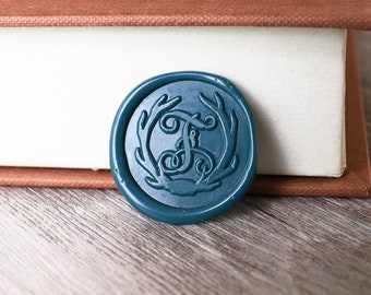 A-Z  Initial with Floral Wax Seal Stamp, Custom wedding wax seal stamp kit, Personalized wedding wax seal,