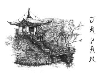 Japanese garden drawing